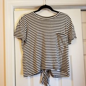 Black and white stripe crop top with tie back